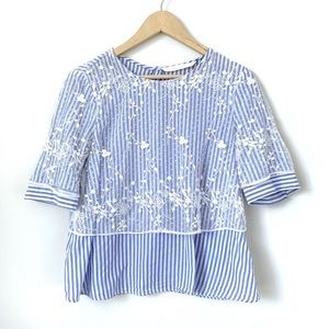Zara | Striped Lace Overlay Cropped Top